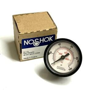 "NoShok 15-110-1000 Pressure Gauge 1000 PSI 1/8"" NPT Back Mount"