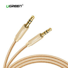 Cable mini Jack 3,5mm audio estereo doble macho auxiliar nylon UGREEN dorado
