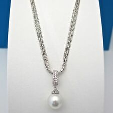 Authentic JOIA De Majorca White Pearl Pendant With CZ Pave on 7-Row Silver Chain