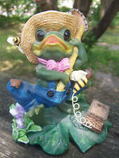 """Resin Figurine WHISTLING FROG with bees on lily pad jean overalls 4.5"""" tall CUTE"""