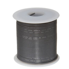 """24 AWG Gauge Stranded Hook Up Wire Gray 100 ft 0.0201"""" PTFE 600 Volts"""