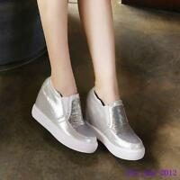 Casual New Ladies Platform Girls Hidden Wedge Slip on Mid Wedge Heels Shoes