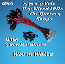 25 PRE WIRED 5MM LEDs 9 VOLT WARM WHITE LED ON BATTERY SNAP 9V PREWIRED