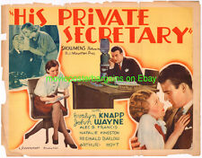 HIS PRIVATE SECRETARY MOVIE POSTER 22x28 HALF SHEET LB VG JOHN WAYNE 1933 HS