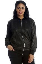 New Womens Plus Size Bomber Jacket Ladies Gold Foil Stripe Ribbed Sale Nouvelle