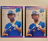 1989 Donruss Ken Griffey Jr Rated Rookie Card RC #33 - LOT (2) Mariners HOF