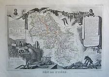 1856 DECORATIVE ANTIQUE MAP LEVASSEUR- DEPT DE L'ISERE, GRENOBLE