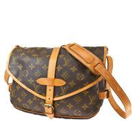 Auth LOUIS VUITTON Saumur 30 Shoulder Bag Monogram Leather Brown M42256 83MG129