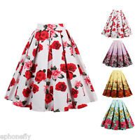 Women's Vintage 40s 50s STYLE Skater Pleated Rose Circle Pinup Swing Skirt Dress