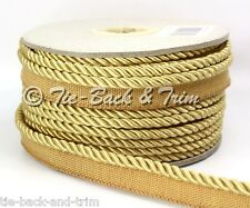 7020 Silky 6mm Flanged Rope Piping Upholstery Insertion Cord - per Metre 407 Classic Gold