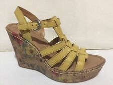 BOC BORN YELLOW ANKLE STRAP STRAPPY FLORAL WEDGE HEEL SANDALS WOMENS SZ 7 M