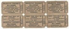 Vintage Majestic Pocket Billiards Strip of 3 Tickets - Shenandoah, PA