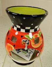 Joyce Shelton Tea Party WAX & OIL TART BURNER green black red TEA LITE  NEW