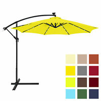 BCP 10ft Solar LED Patio Offset Umbrella w/ Hand Crank, Easy Tilt