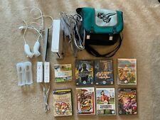 Nintendo Wii W/ 2 Wiimotes, 2 Nunchuks, Motion Bar,Zelda Carry Case, Wii Sports