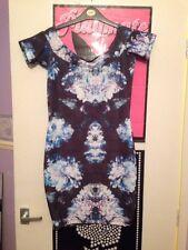 Primark Atmosphere Black Purple Blue White Detail Bodycon Dress Size 10