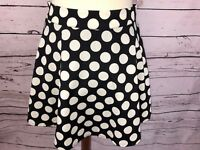 Forever 21 Women's Black & White Polka Dot Mini Skater Skirt Back Zipper Sz S/M