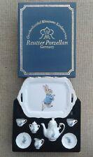 REUTTER PORZELLAN BEATRIX POTTER PETER RABBIT 8 PIECE MINIATURE TEA SET - BOXED.
