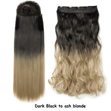 Real Thick AS Human Hair 1PCS Full Head Clip In Hair Extensions Straight Wavy AH