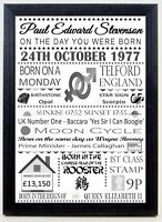 The day you were born Black & Grey Birthday personalised gift keepsake A4 print