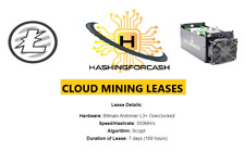 1 week 550MH/s Litecoin Mining Crypto Rental LTC Server Lease ANTMINER L3+ ASIC