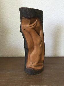 Vintage Balinese Wood Carving Deer on Hind Legs Tree Log Bark Sculpture Rustic