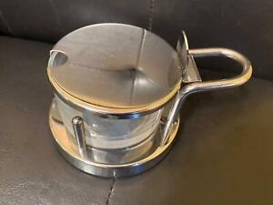 Alessi condiment jar/sugar bowl-glass w/stainless steel case, hinged cover.VGUC
