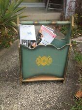 "Vintage Antique Wooden Magazine Rack Turquoise/Yellow 18"" H"