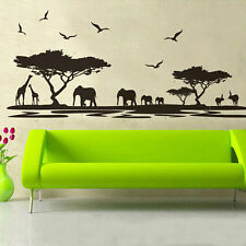 African Elephant Landscape Tree Wall Stickers Vinyl Art Decals Bedroom DIY Mural