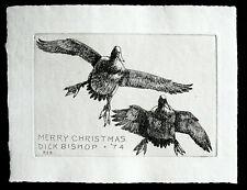 Vtg. Orig. 1974 Christmas Card Etching by Richard Bishop -- Ducks in Flight