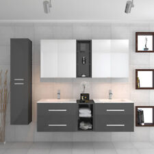 Complete Bathroom Wall Hung Sonix Vanity Unit Double Sink Furniture Suite Grey