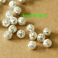 50 x loose spacer silver beads balls round hollow cage filigree 8mm jewellery
