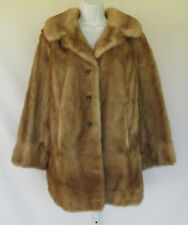 VINTAGE 1960s 70s SWITZERS GENUINE MINK FUR COAT LUCITE BUTTONS FULLY LINED