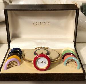 Vintage GUCCI 1100-L Bangle Bracelet Wristwatch w/ Interchangeable Bezels in Box