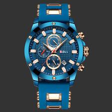 Mens Quartz Watch Blue Face Steel Case 3 Dials Date Analog Fashion Design Casual