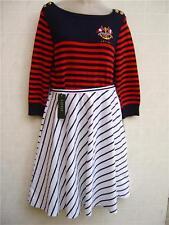 $129 Polo Ralph Lauren Black White Stripe A-Line Zip 12 Flared Short Skirt Dress