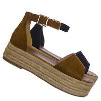 Fatima2 Jute Braided Espadrille Flatform - Women Ankle Strap Rustic Sandal