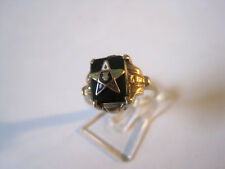 ♛ antiker Ring aus England ♛ Gold 10 Karat ♛ Onyxplatte & Emaille Stern♛Gr. 54 ♛