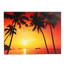 LED Lighted Sunset Beach Coconut Tree Canvas Picture Wall Art Paiting Home Decor