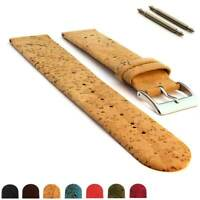 Two-piece Real Cork Watch Strap Band SS. Buckle Spring Bars 16 18 20 22 Vegan MM