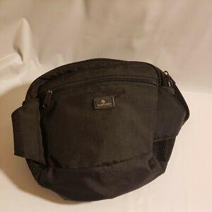 Eagle Creek Large Black Fanny Pack Waist Hip Travel Bag Hiking Side Pockets