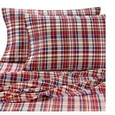 New Lakeside Living 2 King Pillowcases red plaid 300tc 100% cotton