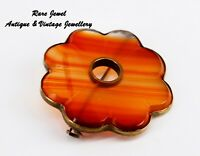 ANTIQUE SCOTTISH BANDED AGATE GILT BROOCH BEAUTIFUL OLD EXAMPLE