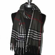 New Fashion 100% Cashmere Scarf Check Plaid Scotland Wool Wrap Soft Dark Gray#B6