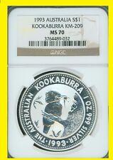 1993  Australia 1 oz silver  Kookaburra PERFECT NGC MS 70 NEW NO SPOTS