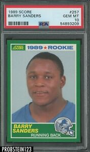 1989 Score Football #257 Barry Sanders Lions RC Rookie HOF PSA 10 GEM MINT