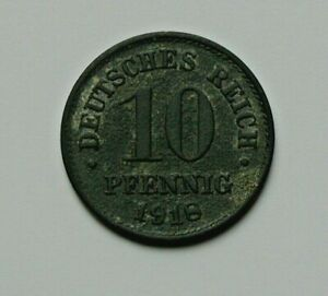 1918 GERMANY WWI Coin - 10 Pfennig - zinc composition & surface corrosion damage