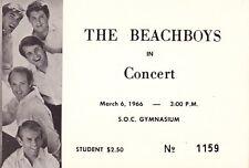 RARE BEACH BOYS 1966 US TOUR UNUSED CONCERT TICKET