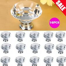 16PCS 40mm Diamond Clear Crystal Glass Door Pull Drawer Knob Handle Cabinet -DH