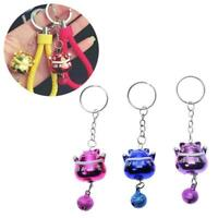Kawaii Cute Fortune Lucky Cat Maneki Keyring Keychain Bell Car Bag With Fav R0T1